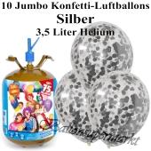 Ballons und Helium Midi Set, Jumbo Konfettiballons, silber mit Einwegbehälter