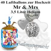 Ballons und Helium Midi Set, Mr & Mrs mit Einwegbehälter