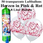 Ballons und Helium Midi Set zur Hochzeit, Heart Pattern transparent mit Einwegbehälter