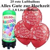 Ballons und helium Mini Set, Alles Gute zur Hochzeit, rot mit 1,8 Liter Einwegbehälter