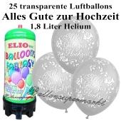 Ballons und Helium Mini Set, Alles Gute zur Hochzeit, transparent mit 1,8 Liter Einwegbehälter
