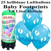 Ballons und Helium Mini Set zu Geburt, Babyparty, Taufe, Junge, Baby Footprints, hellblau mit 1,8 Liter Einwegbehälter