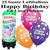 Ballons und Helium Mini Set zum Geburtstag, Happy Birthday bunt gemischt mit 1,8 Liter Einwegbehälter