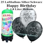 Ballons und Helium Mini Set zum Geburtstag, Happy Birthday silber/schwarz mit 1,8 Liter Einwegbehälter