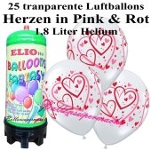 Ballons und Helium Mini Set zur Hochzeit, Heart Pattern transparent mit 1,8 liter Einwegbehälter
