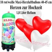 Ballons und Helium Mini Set zur Hochzeit, weiße und rote Maxi-Herzluftballons mit 1,8 Liter Einwegbehälter