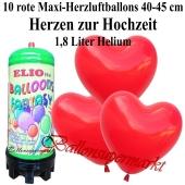Ballons und Helium Mini Set zur Hochzeit, rote Maxi-Herzluftballons mit 1,8 Liter Einwegbehälter