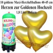 Ballons und Helium Mini Set zur Goldenen Hochzeit, goldene Maxi-Herzluftballons mit 1,8 Liter Einwegbehälter