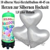 Ballons und Helium Mini Set zur Silbernen Hochzeit, goldene Maxi-Herzluftballons mit 1,8 Liter Einwegbehälter