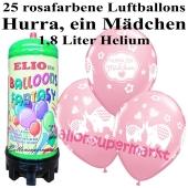 Ballons und Helium Mini Set zu Geburt, Babyparty, Taufe, Hurra, ein Mädchen mit 1,8 Liter Einwegbehälter