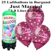Ballons und Helium Mini Set, Just Married, burgund mit 1,8 Liter Einwegbehälter