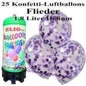 Ballons und Helium Mini Set, Konfettiballons, flieder mit 1,8 Liter Einwegbehälter