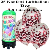 Ballons und Helium Mini Set, Konfettiballons, rot mit 1,8 Liter Einwegbehälter