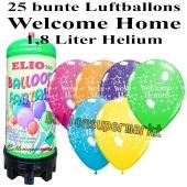 Ballons und Helium Mini Set Welcome Home, bunt mit 1,8 Liter Einwegbehälter