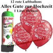 Ballons und Helium Mini Set, Alles Gute zur Hochzeit, rot mit Einwegbehälter