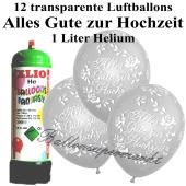 Ballons und helium Mini Set, Alles Gute zur Hochzeit, transparent mit Einwegbehälter