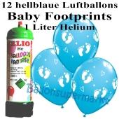 Ballons und Helium Mini Set zu Geburt, Babyparty, Taufe, Junge, Baby Footprints, hellblau mit Einwegbehälter
