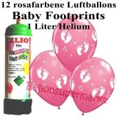 Ballons und Helium Mini Set zu Geburt, Babyparty, Taufe, Junge, Baby Footprints, rosa mit Einwegbehälter