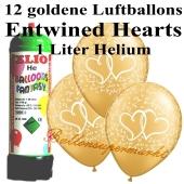 Ballons und Helium Mini Set zur Hochzeit, Entwined Hearts Gold mit Einwegbehälter
