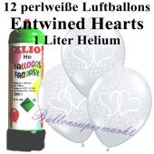 Ballons und Helium Mini Set zur Hochzeit, Entwined Hearts perlweiß mit Einwegbehälter