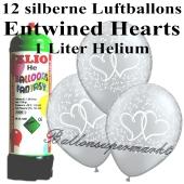 Ballons und Helium Mini Set zur Hochzeit, Entwined Hearts Silber mit Einwegbehälter