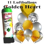 Ballons und Helium Mini Set, Golden Heart mit Einwegbehälter