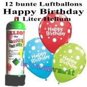 Ballons und Helium Mini Set zum Geburtstag, Happy Birthday bunt gemischt mit Einwegbehälter