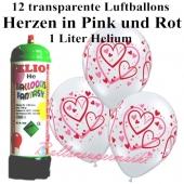 Ballons und Helium Mini Set zur Hochzeit, Heart Pattern transparent mit Einwegbehälter