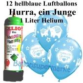 Ballons und Helium Mini Set zu Geburt, Babyparty, Taufe, Hurra, ein Junge mit Einwegbehälter