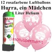 Ballons und Helium Mini Set zu Geburt, Babyparty, Taufe, Hurra, ein Mädchen mit Einwegbehälter