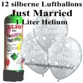 Ballons und Helium Mini Set, Just Married, silber mit Einwegbehälter