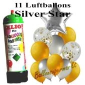 Ballons und Helium Mini Set, Silver Star mit Einwegbehälter