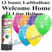 Ballons und Helium Mini Set Welcome Home, bunt mit Einwegbehälter