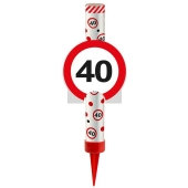 Eisfontäne Verkehrsschild 40, Dekoration zum 40. Jubiläum und Geburtstag
