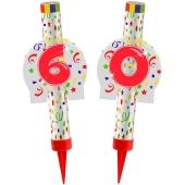 Eisfontänen Zahl 60, Dekoration zu Jubiläum und Geburtstag