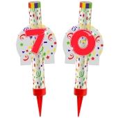 Eisfontänen Zahl 70, Dekoration zu Jubiläum und Geburtstag
