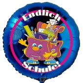EndlichSchule! Blauer, runder Luftballon zum Schulanfang, zur Einschulung, ohne Helium-Ballongas