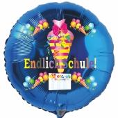 Endlich Schule! Blauer, runder Luftballon mit Helium zum Schulanfang. Geschenk zur Einschulung