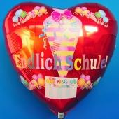 Endlich Schule! Roter Herzluftballon mit Helium zum Schulanfang. Geschenk zur Einschulung