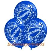 Motiv-Luftballons Entschuldigung, blau, 3 Stueck