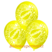 Motiv-Luftballons Entschuldigung, gelb, 3 Stueck