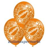 Motiv-Luftballons Entschuldigung, orange, 3 Stueck