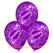 Motiv-Luftballons Entschuldigung, violett, 3 Stueck