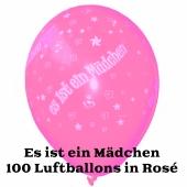 Es ist ein Mädchen, Luftballons in Rosé, 100 Stück