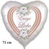 Ewige Liebe. 71 cm großer Herzballon zur Hochzeit, Folienballon ohne Helium