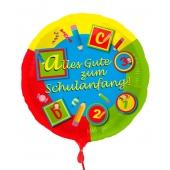 Alles Gute zum Schulanfang, Luftballon aus Folie mit Helium-Ballongas, Ballongrüße