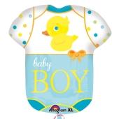 Luftballon Baby Boy in Form eines Stramplers, inklusive Helium