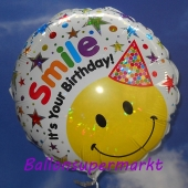 Geburtstags-Luftballon Smile It's Your Birthday, Smiley mit Hut, holografisch, ohne Helium