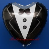 Luftballon aus Folie zur Hochzeit, Folienballon Herz, Braeutigam, ohne Helium