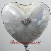 Luftballon aus Folie zur Hochzeit, Folienballon Herz, Braut, ohne Helium
